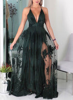 Dark green v neck tulle long prom dress, lace evening dress