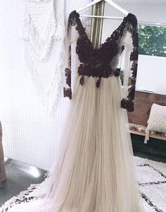 Cute v neck lace long prom dress, long sleeve evening dress