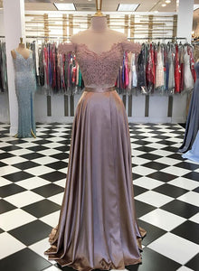 Stylish two pieces lace long prom dress, evening dress