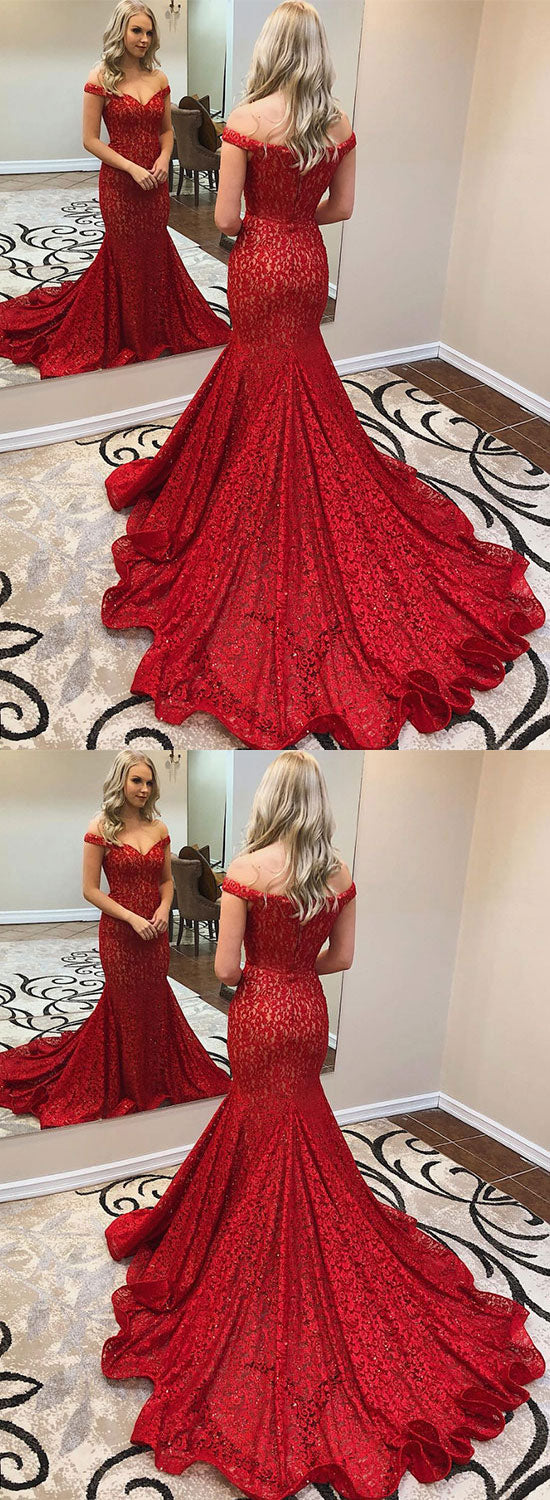 Burgundy lace long prom dress, mermaid evening dress