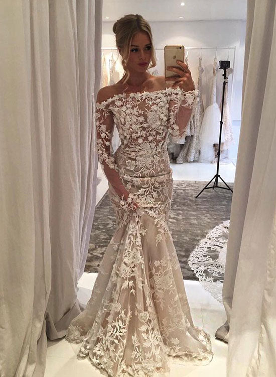 Mermaid lace long sleeve long prom dress, lace evening dress – trendty