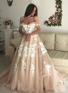 Champagne tulle appliqué long prom dress, evening dress