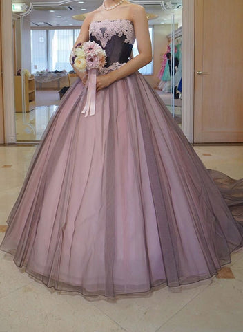Pink lace tulle long prom dress, formal dress