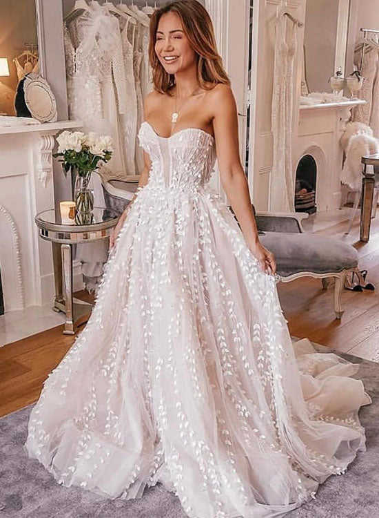 White sweetheart neck tulle applique long prom dress, evening dress