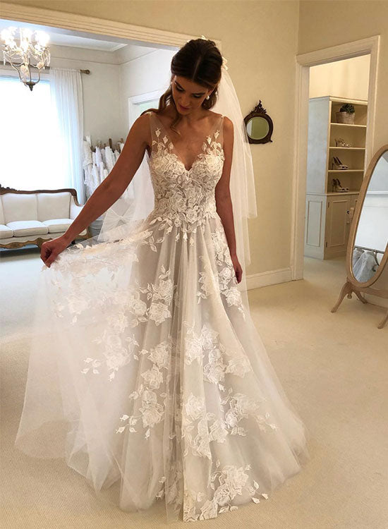 a65a478c564 White v neck lace tulle long prom dress