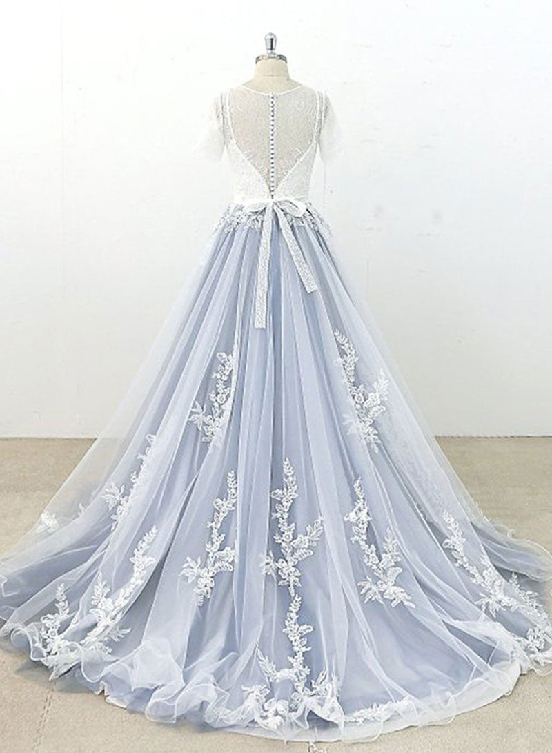 Gray lace tulle long prom dress, evening dress