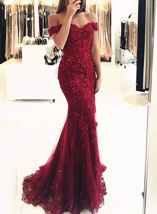 Burgundy lace off shoulder long prom dress, mermaid evening dress