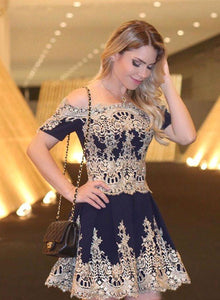 Dark blue lace short prom dress, lace homecoming dress