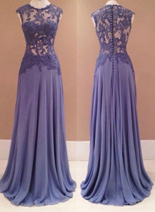 A line round neck chiffon lace long prom dress, lace evening dress