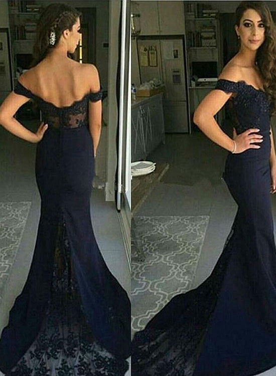 Dark blue mermaid lace long prom dress, lace formal dress