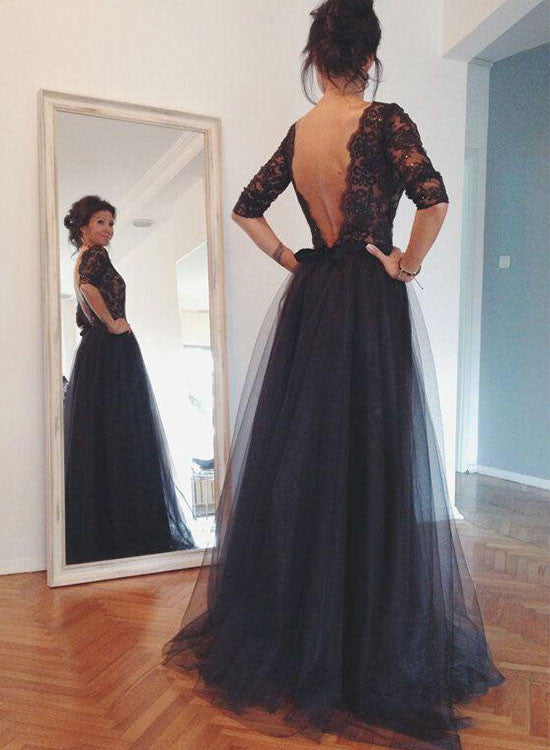Elegant Black A Line Lace Long Prom Dress Black Evening Dress Trendty