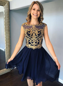Cute lace round neck short prom dress, homecoming dress