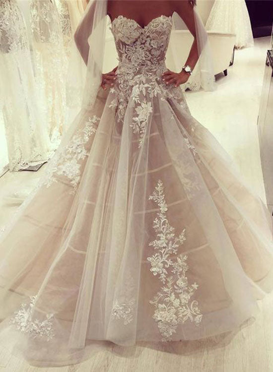 Custom made lace tulle long prom dress, wedding dress
