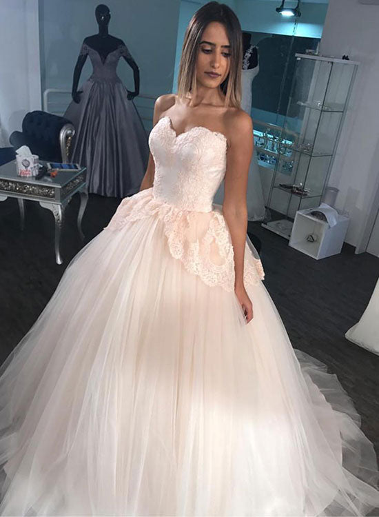 Light Pink Tulle Lace Long Prom Dress Sweet 16 Dress