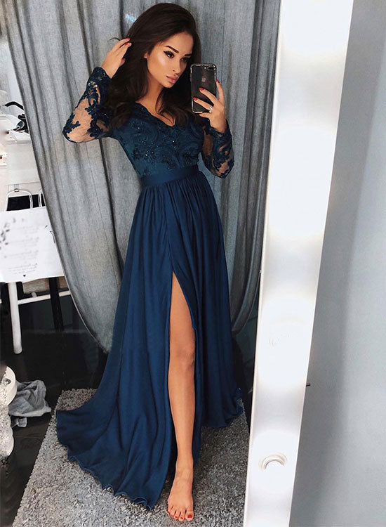1e6a6619c7e2 Blue long sleeve lace prom dress