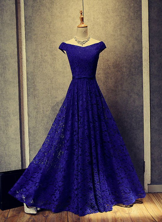 Simple blue lace long prom dress, lace evening dress