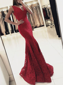 Simple red v neck lace long prom gown, lace formal dresses