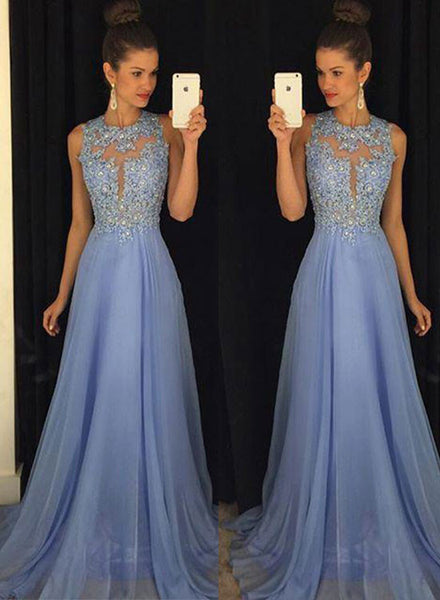 Elegant chiffon lace floor length prom dress, lace evening dress