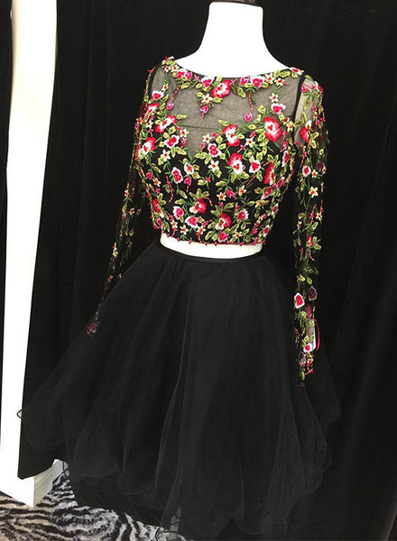 Cute black two pieces lace short prom dress, long sleeve evening dress