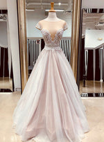 Champagne tulle lace long prom dress, lace evening dress