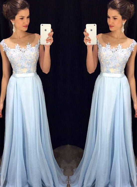Light blue lace chiffon long prom dress, evening dress
