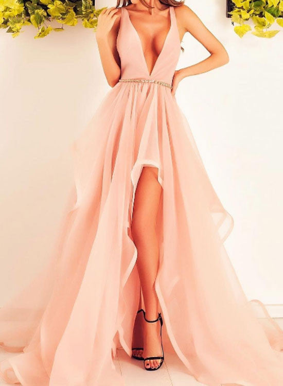 Light pink v neck tulle long prom dress, evening dress