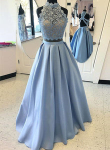 Blue lace two pieces long prom dress, A line evening dress