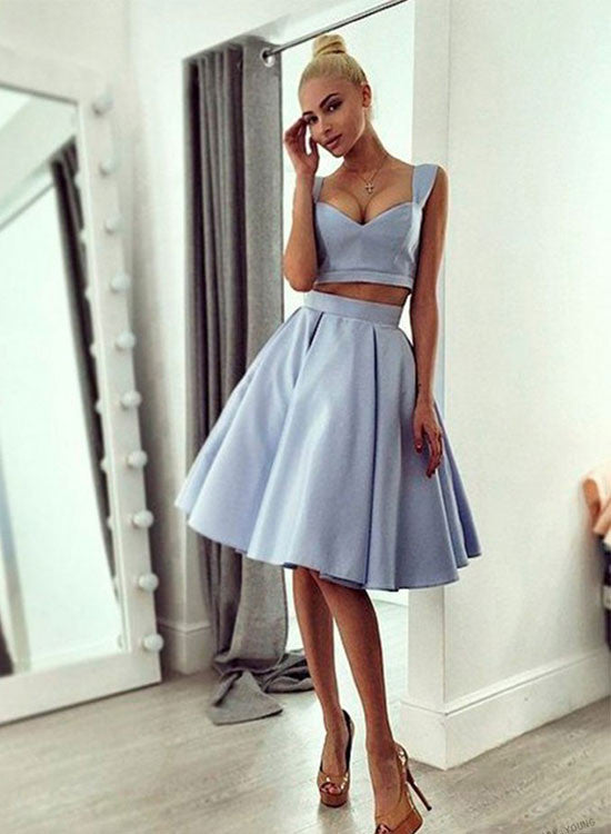 Light blue two pieces short prom dress, homecoming dress
