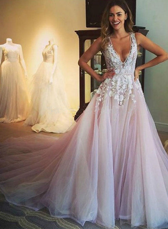 Amazing light pink tulle lace long prom dress, wedding dresses
