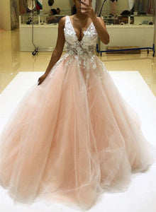 Light pink v neck lace tulle long prom dress, evening dress