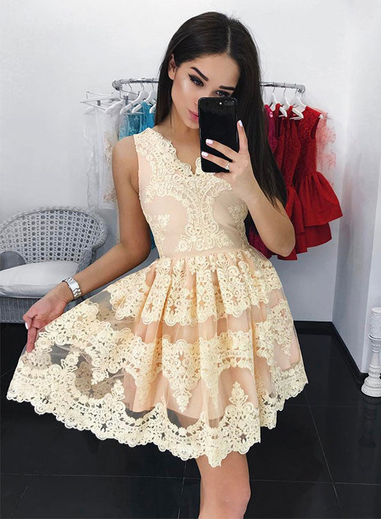 Cute A line lace short prom dress, homecoming dress