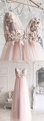 Light pink v neck applique long prom dress, evening dress