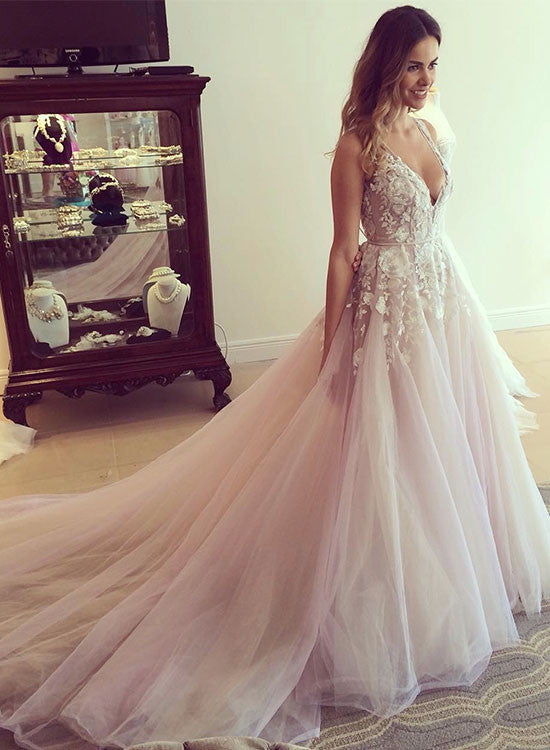 Amazing Light Pink Tulle Lace Long Prom Dress Wedding Dresses Trendty