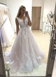 Light pink v neck tulle lace long prom dress, formal dress