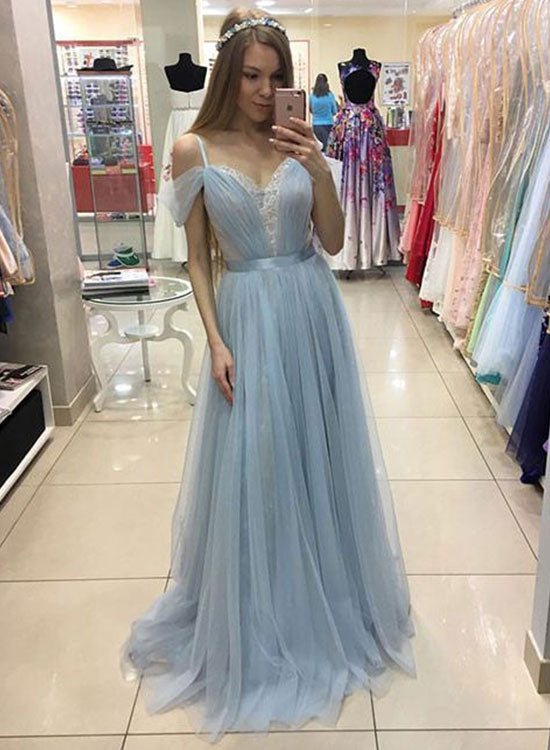 Light blue tulle lace long prom dress, lace evening dress