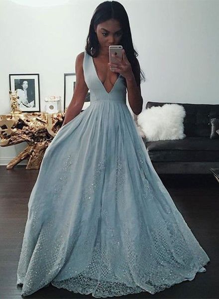 Blue A line v neck lace long prom dress, blue evening dress