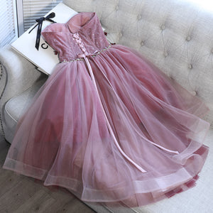 Pink tulle applieque short prom dress, homecoming dress