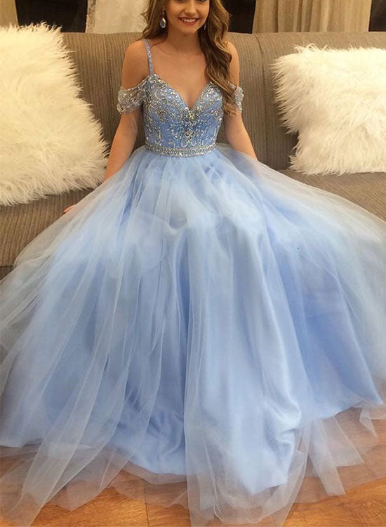 Light blue tulle long prom dress, blue evening dress – trendty