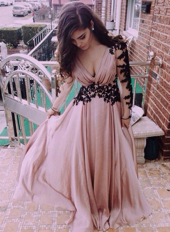 A line chiffon long sleeve prom dress, lace evening dreses