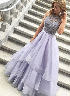Light purple tulle long prom dress, evening dresses