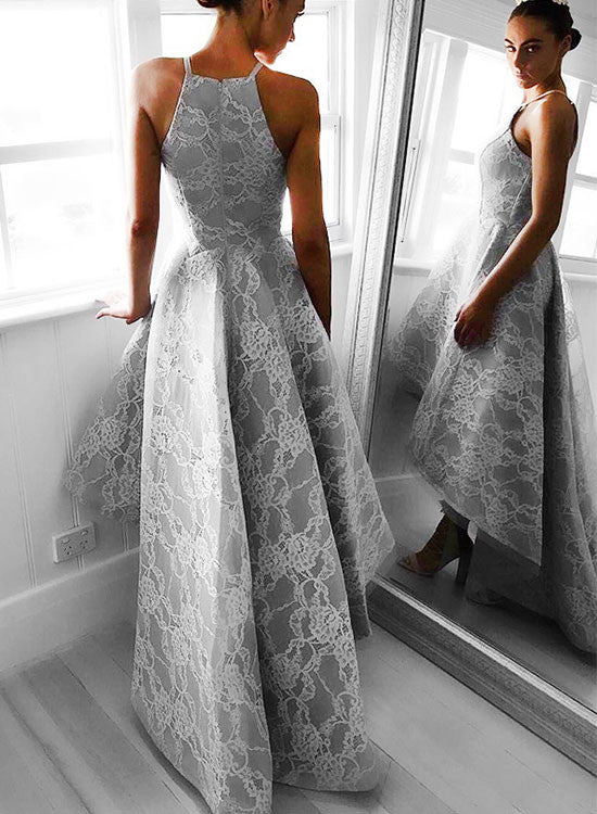 Stylish gray high low lace prom dress, lace evening dresses