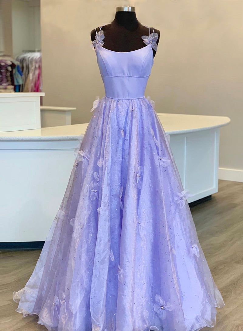 Purple tulle long A line prom gown evening dress