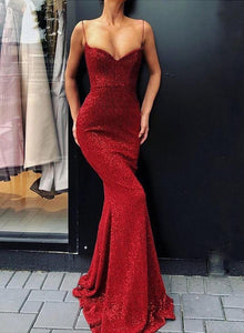 Mermaid sequins long prom dress, simple evening dress