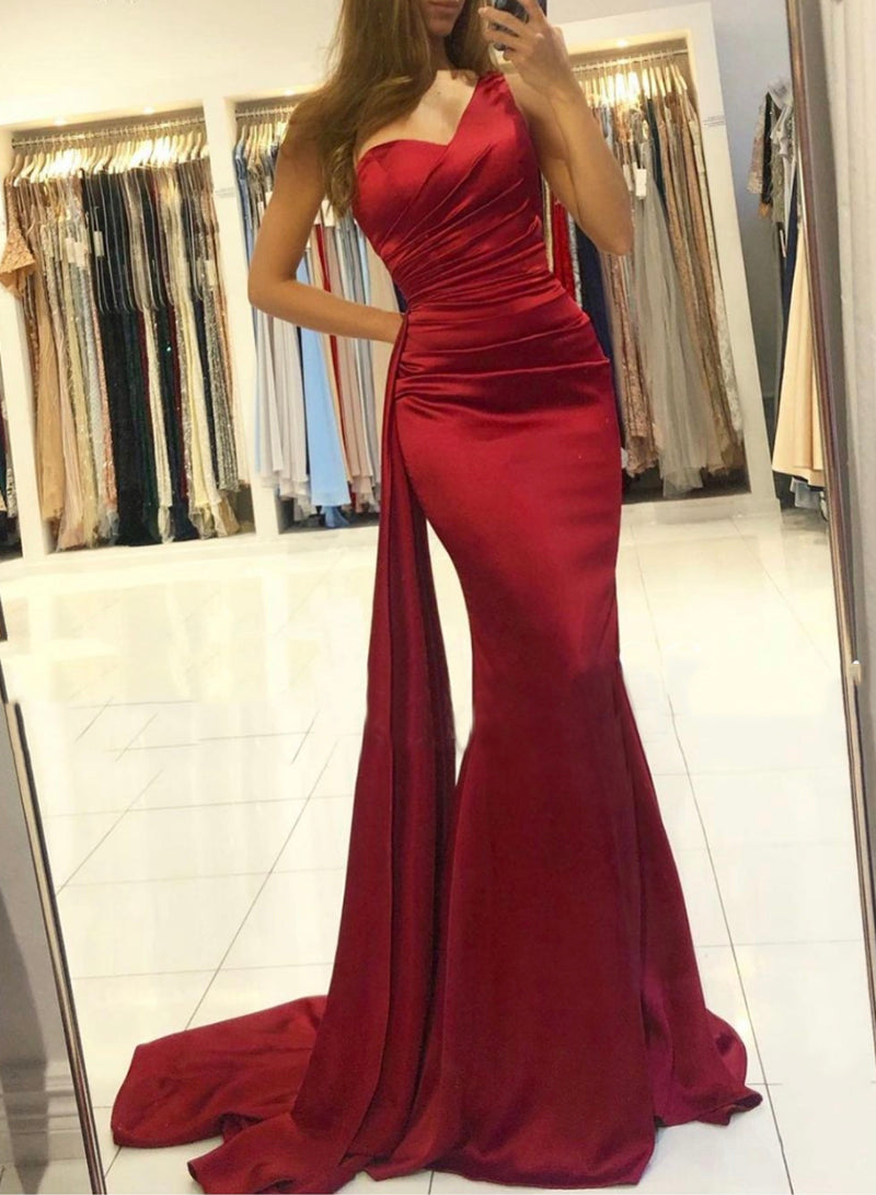 Burgundy long prom dress mermaid evening dress