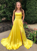 Yellow satin long prom dress simple evening dress
