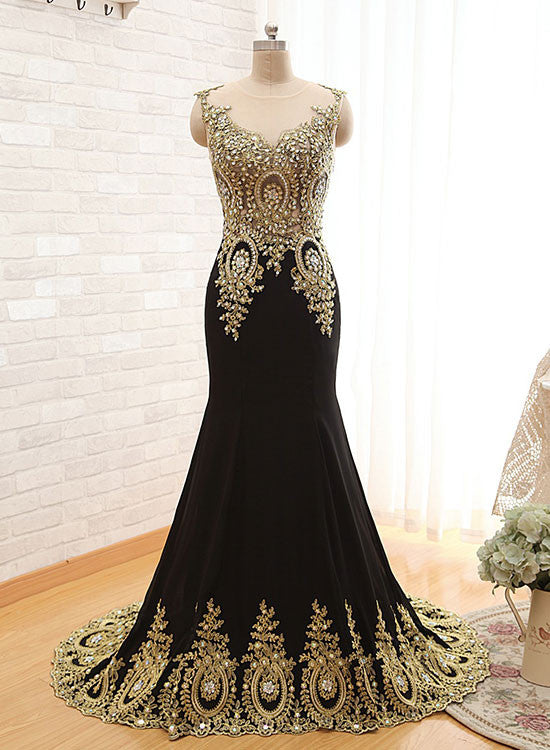 High quality Black and gold lace long prom dress, mermaid evening dress