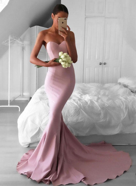 Pink mermaid long prom dress, pink evening dress