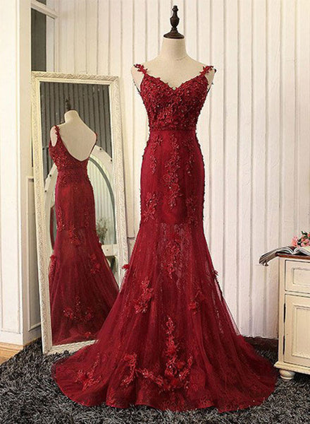 Red mermaid v neck lace long prom dress, red evening dress
