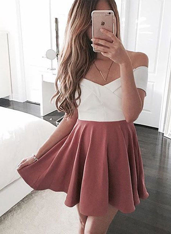 Charming A line off shoulder short prom dress, homecoming dress