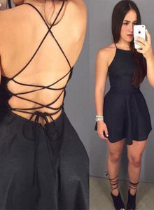 Mini black short prom dress, homecoming dress,cocktail dress